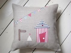 Ticketty Boo. Ticketty Boo Linen Beach Hut and Bunting Cushion