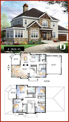 Two master suites Craftsman House Plan, 4 bedrooms, 4 bathrooms, home office, s . - Furnishing ideas Two Master Suites Craftsman House Plan 4 Bedrooms 4 Baths Home Office S Sims 4 House Plans, Porch House Plans, 4 Bedroom House Plans, Craftsman House Plans, Country House Plans, Modern House Plans, Small House Plans, House Floor Plans, Craftsman Style