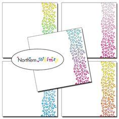 #Ombre #Cheetah Stripe Digital Paper Pack – white #scrapbook papers with stripes of ombre cheetah print patterns – instant download – CU OK #digiscrap #cheetahprint #scrapbookpaper