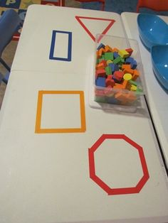 Math shapes--tape the shape on the table and provide foam shape blocks to play with. What to do with them is up to your child.