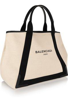 Balenciaga|Cabas M leather-trimmed canvas tote|NET-A-PORTER.COM