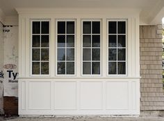 Trim Boards make the exterior of these bay windows really stand out. Also see the WindsorONE Exterior Installation Instructions. credit: from the WindsorONE Archive Exterior Window Molding, Bay Window Exterior, Bay Window Shutters, Window Molding Trim, Garage Exterior, Moldings And Trim, Window Seats, Diy Exterior Trim, Panel Moulding