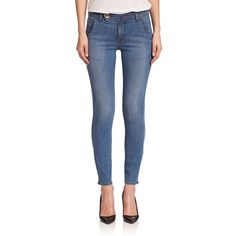 FRAME Le Trouser Skinny Jeans ($260) ❤ liked on Polyvore featuring jeans, apparel & accessories, kruger, stretchy jeans, stretch blue jeans, shiny jeans, super stretch skinny jeans and frame denim
