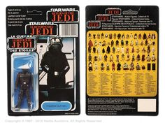 """Craig Stevens Palitoy Star Wars 3 3/4"""" Figure Collection   Vectis Toy Auctions. Palitoy/General Mills Star Wars Return of the Jedi Tri-logo Imperial Gunner 3 ¾"""" vintage figure, Mint, within Good (indented) bubble, upon Excellent 70D un-punched card back. Estimate: £100 - £120"""