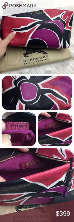 "NWT Burberry clutch New with tags Burberry Prorsum whimsical clutch in pink magenta. Catch the buzz: Burberry Prorsum's graphic bee-print clutch adds a wonderful touch of whimsy to any look. Burberry pebbled leather insect-printed clutch bag. Top-zip closure with patent leather pull-tab. Embossed logo lettering at top; golden hardware. Inside, grosgrain lining; one slip pocket. 5.5""H x 10""W x 3.3""D; weighs 10 oz. Made in Italy. RETAILS $1295 no trades,price is firm Burberry Bags Clutches…"