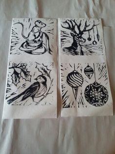 Lino cut first prints by Lorralei Burton Christmas Diy, Christmas Wreaths, Christmas Cards, Linoprint, Tampons, Linocut Prints, Christmas Inspiration, Printmaking, Screen Printing