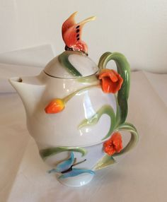 Tea-For-One Porcelain Floral Dream Hand Painted (3-D) Teapot & Nesting Cup