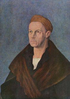 Albrecht Dürer.  Porträt des Jakob Fugger. Um 1519, Wasserfarben, Leinwand, 68 × 52cm.Augsburg, Staatsgalerie, Städtische Kunstsammlungen.Deutschland.Renaissance.  KO 00260