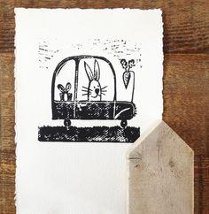 bunny rabbit - original linocut print - rabbit in car - wall art for children by katiejardineART on Etsy