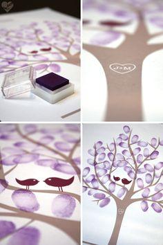 Wedding Tree -Tolle Idee anstatt eines Gästebuches. Fingerabdrücke +Namen der Gäste an einem Baum.