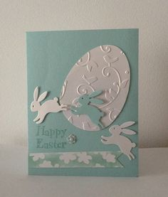Handmade easter card leaping die cut bunnies embossed and die cut egg bunnies card cut die easter egg embossed handmade holidays leaping 35 diy easter cards that highlights your sentiments in a warm creative tone Diy Easter Cards, Easter Greeting Cards, Easter Crafts, Handmade Easter Cards, Easter Projects, Easter Egg Designs, Karten Diy, Easter Printables, Coloring Easter Eggs
