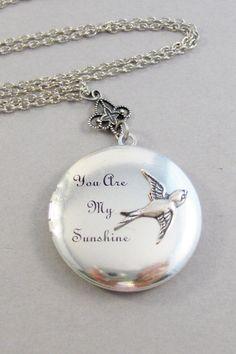 Sunshine Sparrow,You are my sunshine,Sparrow Locket,Bird Necklace,Bird Jewelry,Sunshine Jewelry,Sunshine Necklace,Sun, valleygirldesigns.