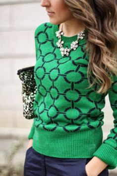 Ah hh I love green! Green sweater with blue pant and sparkling accessories.