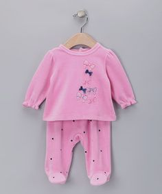 Take a look at this Pink Bow Velour Top & Footie Pants - Infant by Absorba on #zulily today!