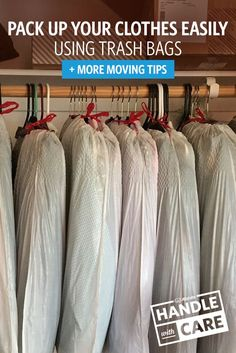 Here's a great moving tip: pack up your clothes by tying trash bags around them. It helps keep your clothes organized, protected and on the hanger. We've got plenty more easy packing tips on our Moving Center. Moving Tips Clothes, Moving Hanging Clothes, Diy Clothes Hacks, Packing Clothes, Moving House Checklist, Moving House Tips, Moving Home, Moving List, Packing To Move
