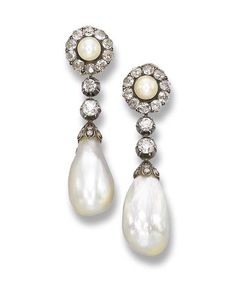 A PAIR OF ANTIQUE NATURAL PEARL AND DIAMOND EAR PENDANTS   Each pearl and diamond cluster supporting two old-cut diamonds and a drop-shaped pearl, circa 1860, earring fittings later