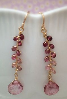 Faceted Tourmaline 24k Gold Fill Wire Wrapped Earrings