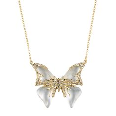 Jardin Mystère Butterfly Necklace | Alexis Bittar - Textured Gold Tone frames Hand Carved and Hand Painted Lucite, Mother of Pearl and White Quartz Doublet and Pave Crystals to form the centerpiece of this pendant necklace.