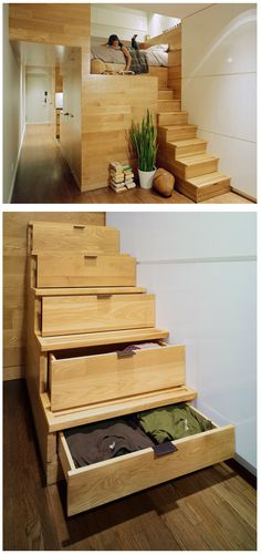 Way too cool for words.  Loft bed with storage drawer stairs built over closet.  Great maximizer of space!