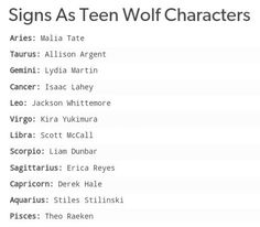 As Teen Wolf characters