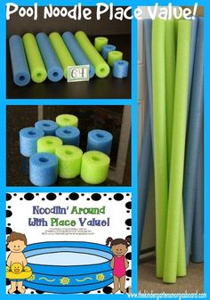 Use pool noodles to practice place value!  Great hands on math lesson and makes a great math center activity!