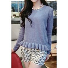 Flouncing Design Long Sleeve Round Collar Solid Color Pullover Sweater For Women