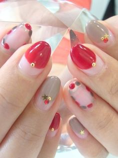 I like the way the red & gray nails are done up. Definitely try w/ different colors.