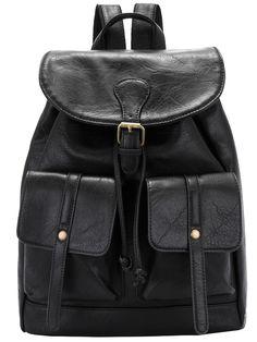 Black Buckle Drawstring PU Backpack 23.00