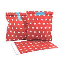 in due 24 XL Geschenkt/üten zum Bef/üllen Sterne rot mit wei/ßen Sternen Adventskalender T/üten Geschenktasche DIY Weihnachten
