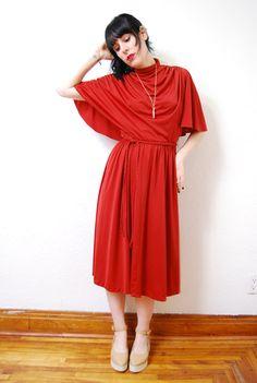 vintage 1970s / rust / drape / flutter sleeve / cape / by YeYe, $22.00
