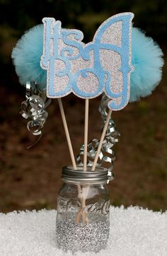 Its a Boy Baby Shower Decoration Centerpiece Blue and Silver Hospital Gift