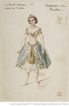 Costume sketch for the opera-ballet Le cheval de bronze by Alfred Albert. 1857.    source: gallica.bnf.fr