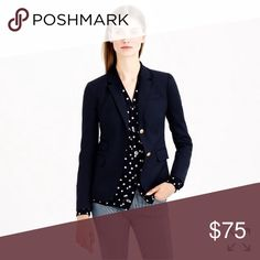 {J.Crew} Schoolboy Blazer ↠ Women's size 2, navy blue  ↠ Bust: 33.5 ↠ Natural Waist: 26 ↠ Wool/poly/viscose with a hint of stretch ↠ Hits at hip, functional buttons at cuffs ↠ Only worn a few time, all buttons intact  🌙 bundle & save 🌙 J. Crew Jackets & Coats Blazers