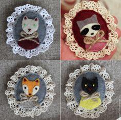 Купить Броши из фетра животные - разноцветный, брошь из фетра, лиса, кот, кошки котята коты