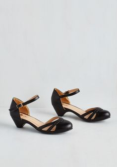 Fashion School Sweetheart Heel in Noir - Low, Faux Leather, Black, Solid, Party, Work, Holiday Party, Vintage Inspired, 20s, Good, Variation
