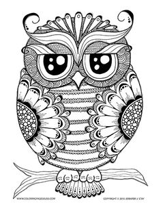 Owl Coloring Page. Coloring Pages for adults and grown ups. Coloring for stress relief and coping with pain. Over 100 Printable Coloring pages to fill with beautiful colors are available for download at Coloring Pages Bliss. Free Coloring pages available every month