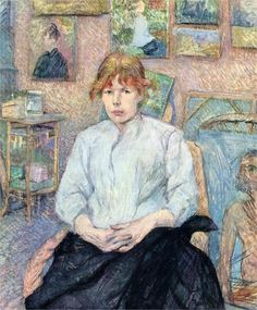 Henri de Toulouse-Lautrec (French:1864–1901) - The Redhead with a White Blouse (1888)