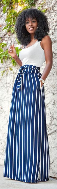 Striped Maxi Skirt by Style Pantry
