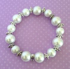 White Glass Beads Pearl Look Stretch Bracelet w/ Bail For Picture Charms