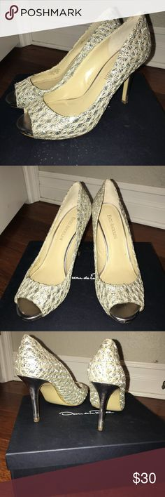 Sparkly Heels Enzo Angiolini peep toe heels silver and white Enzo Angiolini Shoes Heels