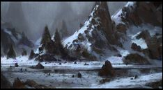 ArtStation - Bunch of mountain painting., Quentin Mabille