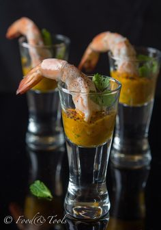 Prawns in shooter glasses with a Chilli Mango Chutney