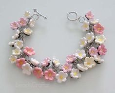 Sakura Cherry Blossom Charm Bracelet  Polymer Clay by beadscraftz