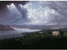 View of the Hudson River from Tarrytown Heights, by Robert Havell, Jr., c1842. Looking north towards Haverstraw Bay and Croton Point.  Now at the NY Historical Society.