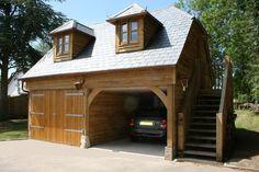 oak framed garage with loft guest accommodation Carport Designs, Garage Design, Cabana, Timber Frame Garage, Brick Bathroom, Garage Guest House, Oak Framed Buildings, Carport Garage, Garden Storage Shed