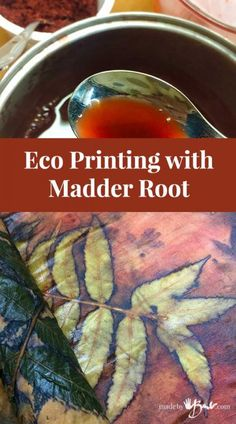 Eco-Printing with Madder Root - Made By Barb - dye & print with madder Shibori, Fabric Painting, Fabric Art, Fabric Design, Natural Dye Fabric, Natural Dyeing, How To Make Ink, Tinta Natural, Fabric Dyeing Techniques