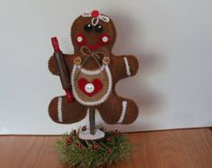 Gingerbread Decoration..Up Cycled Tree Limb..Christmas Decor..Ginger Collector..County Home..Gingerbread Decor..Ginger Kitchen Decor