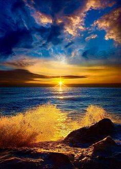 Sun over the ocean.