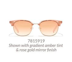 Fun browline glasses shown in translucent pink option with gradient amber tint and rose-gold mirror finish. Rose Gold Mirrored Sunglasses, Pink Sunglasses, Affordable Glasses, Vintage Rose Gold, Prescription Sunglasses, Eyewear, Summertime, Amber, Fun