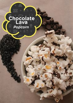 4 ingredients and 10 minutes are all you need to create this recipe for delicious Chocolate Lava Popcorn! Sweet Popcorn, Popcorn Bar, Candy Wafers, Movie Night Snacks, Chocolate Lava, Popcorn Recipes, Savory Snacks, Delicious Chocolate, 4 Ingredients